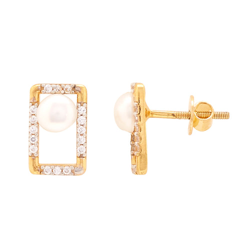 Gold Pearl and CZ Stone Stud-GTP2046