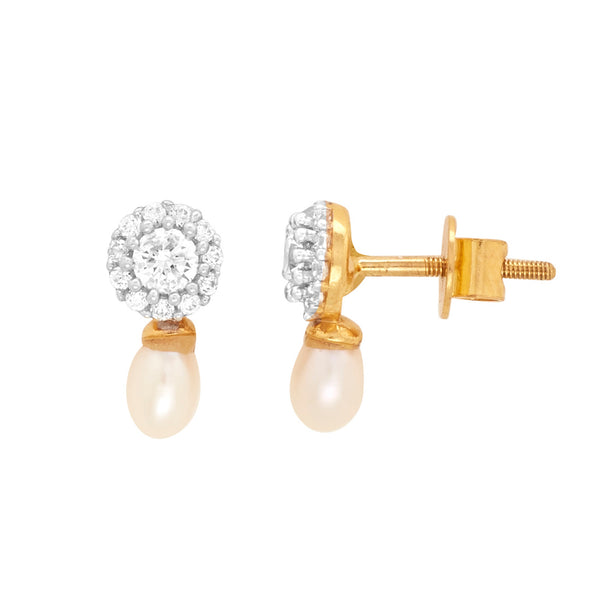 Gold pearl Hanging Earring with CZ Stone-GTP2054