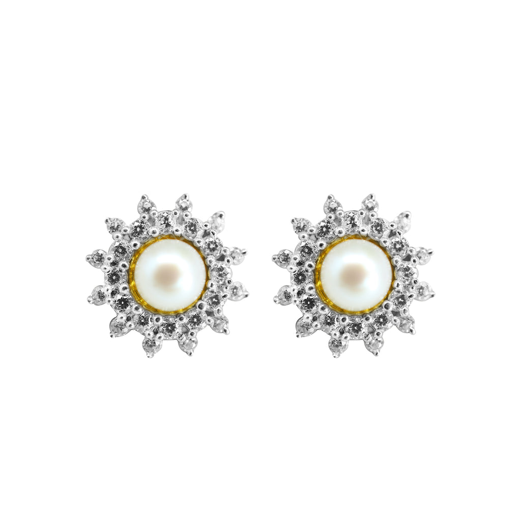 Gold Stone and Pearl Earrings -GTP2085