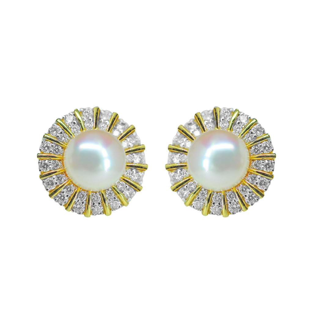 Gold Stud with Pearl and Diamond - GTPD213