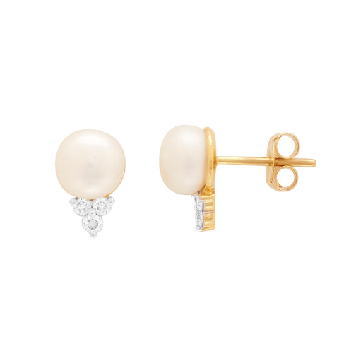 Gold with Diamond and Pearl Studs -GTPD236