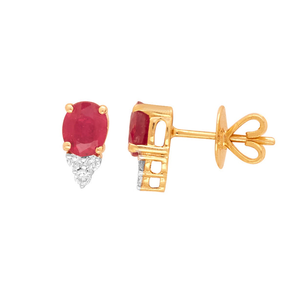 Gold with Diamond and Ruby Studs-GTR0590