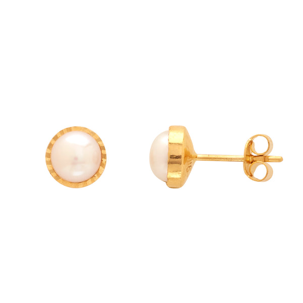 Gold Plain Button Pearl studs-GTWPS14
