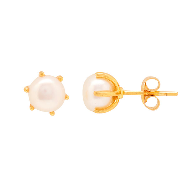Gold Plain Button Pearl studs-GTWPS31