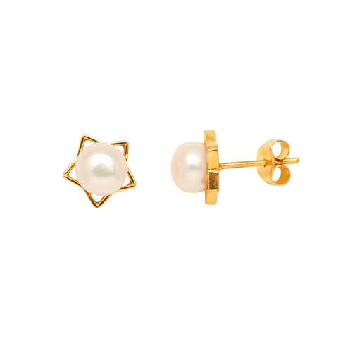 Gold Plain Button Pearl studs-GTWS136