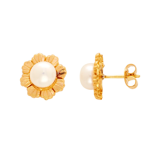 Gold Plain Button Pearl studs-GTWS239