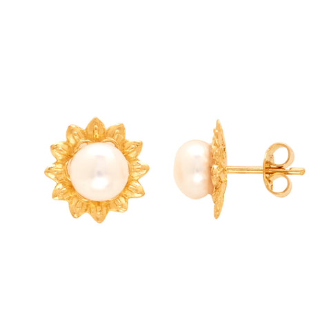 Gold Plain Button Pearl studs-GTWS265