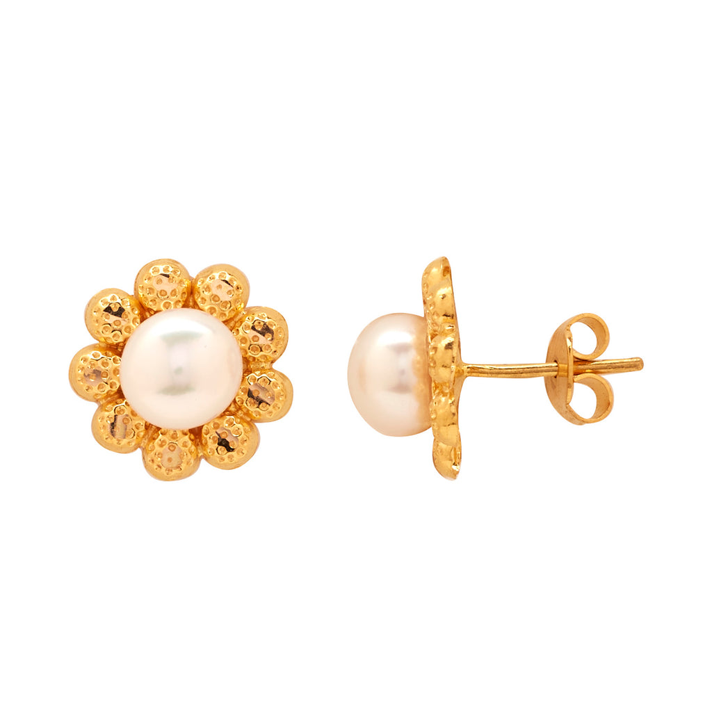Gold Plain Button Pearl studs-GTWS294