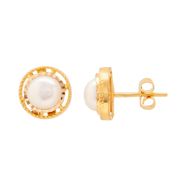 Gold Plain Button Pearl studs-GTWS289