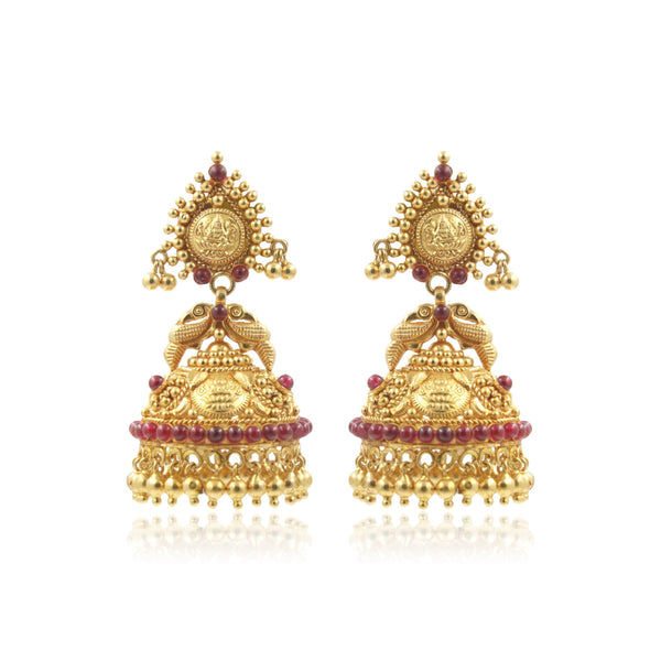 Gold -Antique Jhumkas -Earrings -PGT0470 KrishnaPearlsandJewellers
