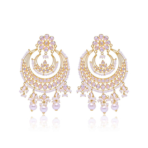 Gold -Chandbali Jhumka Earrings -GTPS958 KrishnaPearlsandJewellers