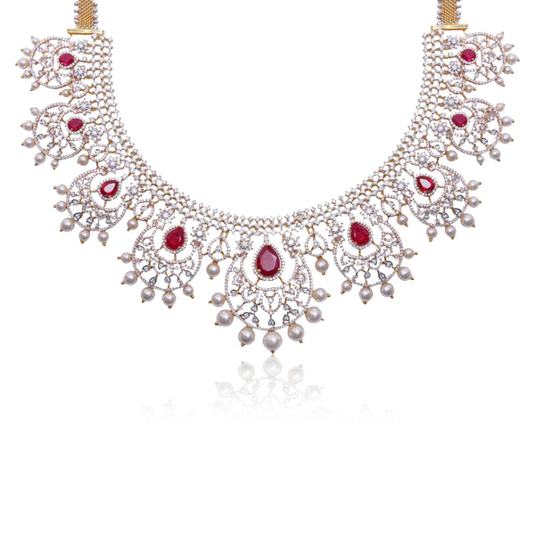 Gold -Diamond Chandbali -Necklace -NS299 KrishnaPearlsandJewellers