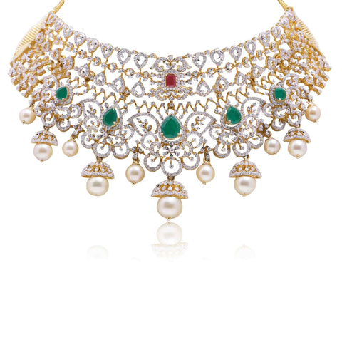 Gold -Diamond Choker Necklace -NS73 KrishnaPearlsandJewellers