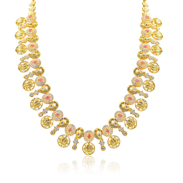 Gold -Kasu Necklace -PGN0487 KrishnaPearlsandJewellers