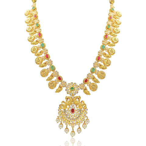 Gold -Kasu Necklace -PGN0515 KrishnaPearlsandJewellers