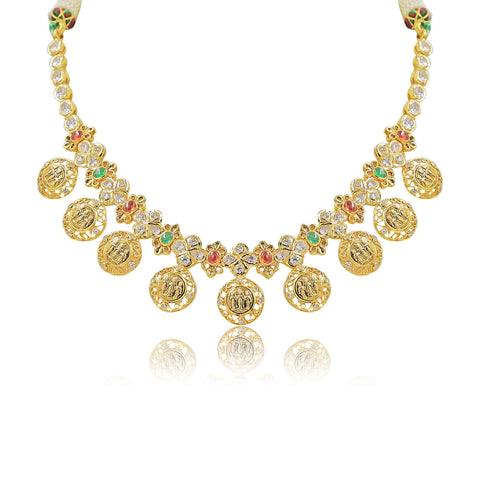 Gold -Kasu Necklace -PGN0644 KrishnaPearlsandJewellers