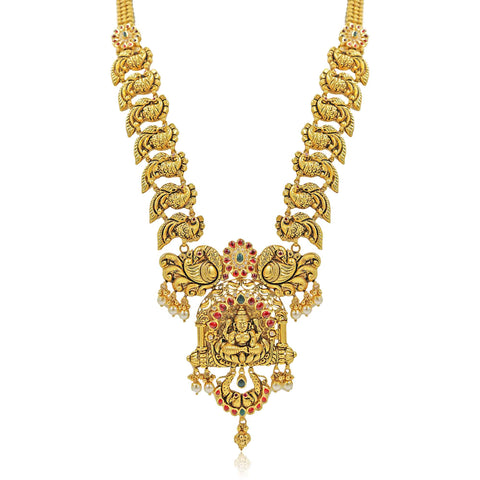 Gold -Lakshmi -Peacock Necklace -PGN0637 KrishnaPearlsandJewellers