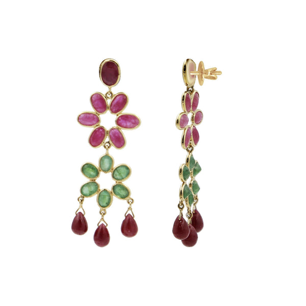 Gold -Multi Stones Earrings -GTMS471 KrishnaPearlsandJewellers