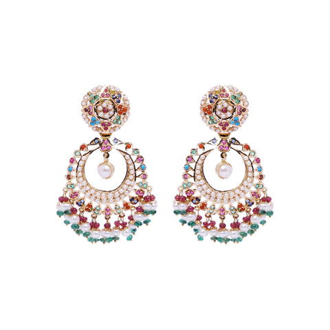 Gold -Multistone Earrings -GTPS978 KrishnaPearlsandJewellers