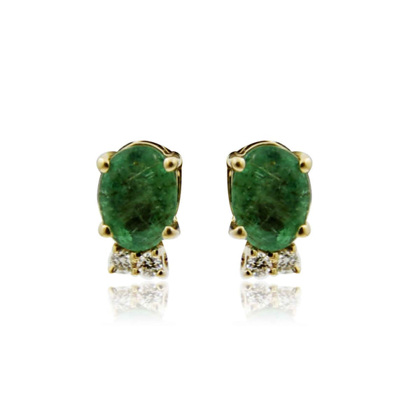 Gold -emerald Diamond Earrings -GTE0587 KrishnaPearlsandJewellers