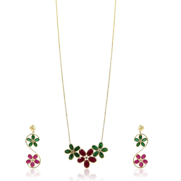 Gold Chain in Ruby and Emerald flower Gold Set -GSMS371 KrishnaPearlsandJewellers
