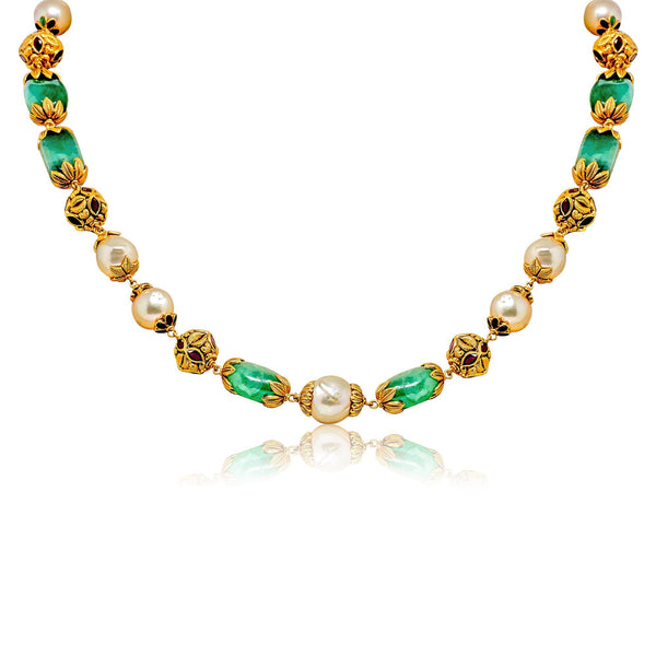 Gold Chain with Gemstones and Pearls-GCPS977 KrishnaPearlsandJewellers