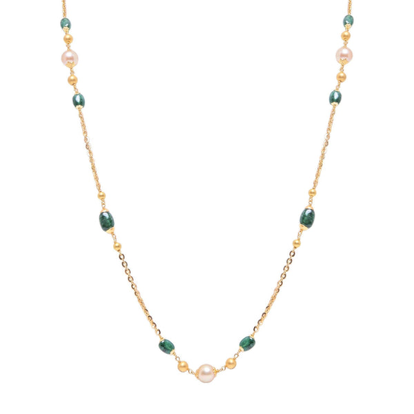 Gold Chain with Pearls & Emerald Stones-GCP1019 KrishnaPearlsandJewellers