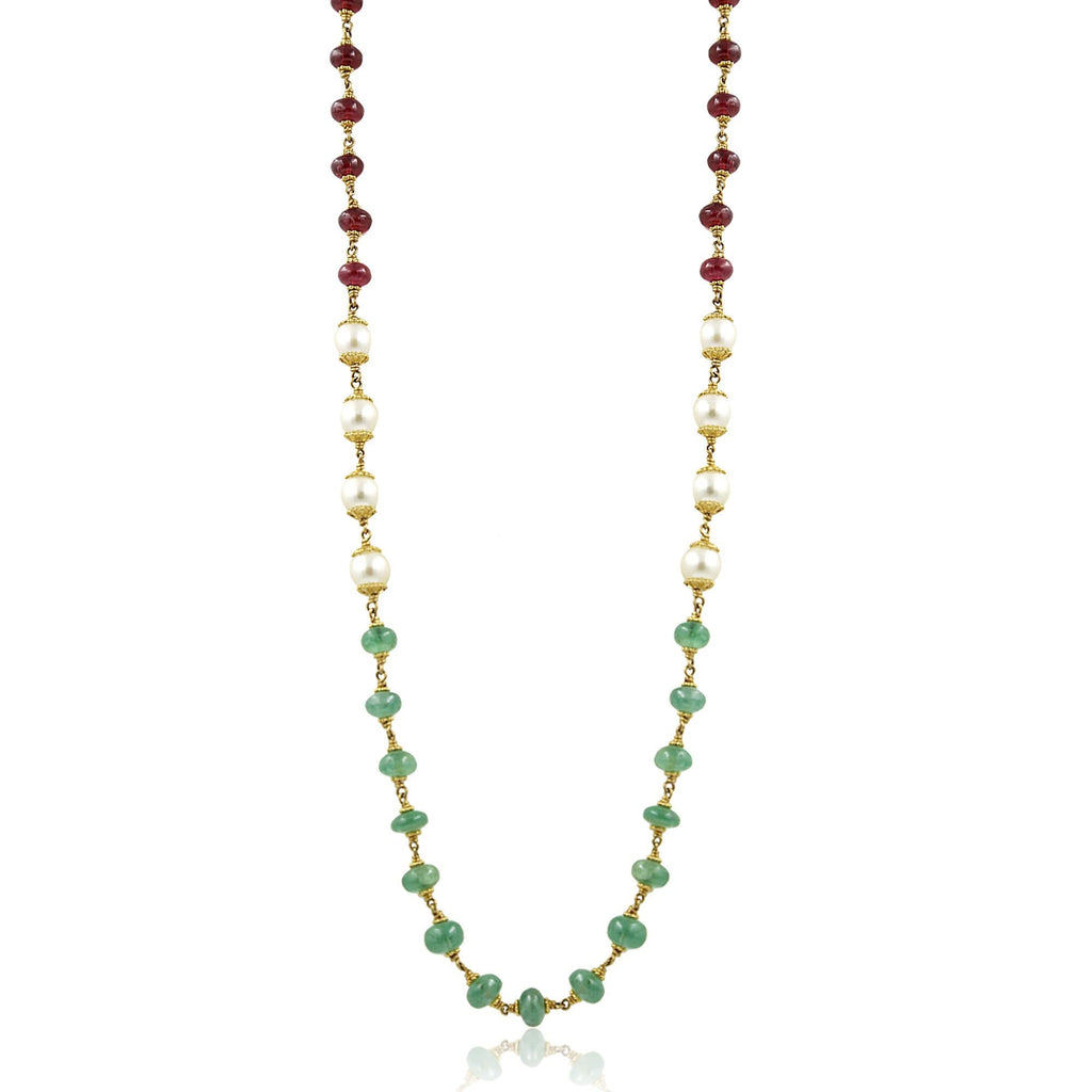 Gold Chain with Pearls, Ruby & Emerald Stones-GCPS881 KrishnaPearlsandJewellers