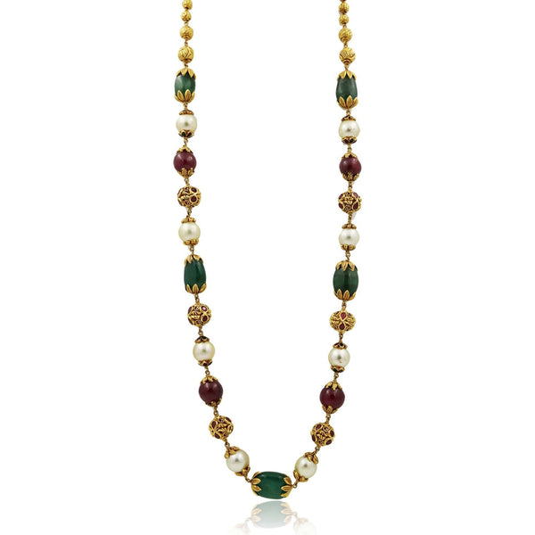 Gold Chain with multistone and pearls-GCPS978 KrishnaPearlsandJewellers