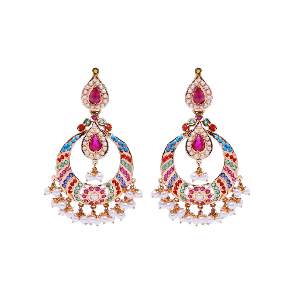 Gold Chandbali -Multistone Earrings -GTPS972. KrishnaPearlsandJewellers