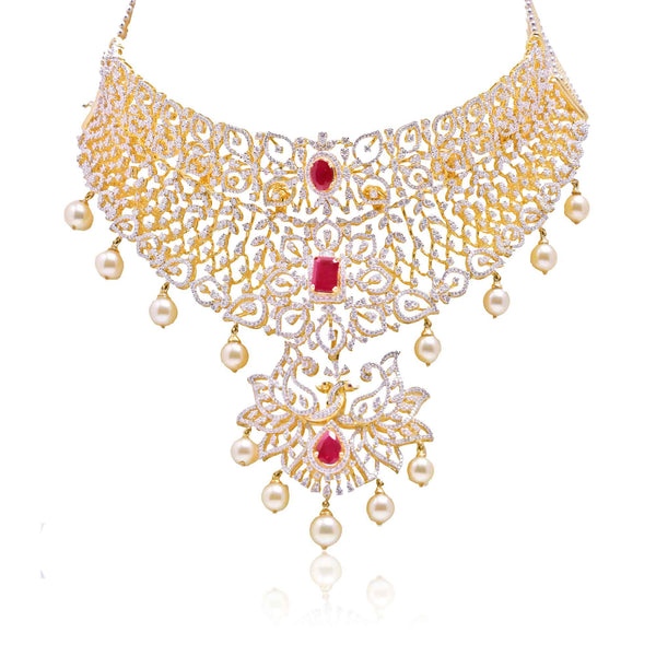 Gold Choker -Diamond Necklace -NS240 Krishna Pearlsand Jewellers