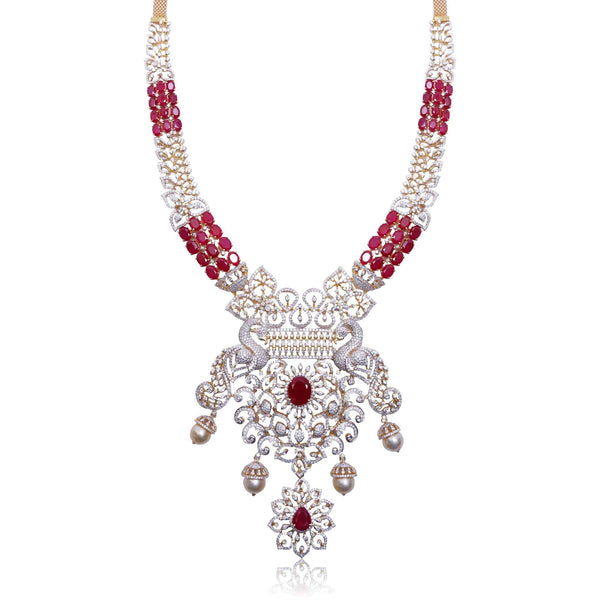 Gold Diamond -Peacock Necklace -H17076 KrishnaPearlsandJewellers