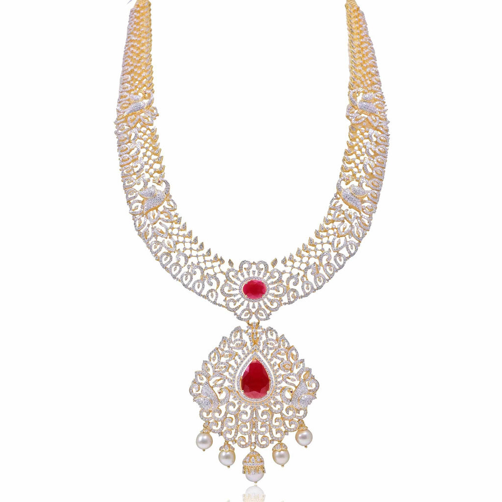 Gold Diamond -Peacock Necklace -HAR955 KrishnaPearlsandJewellers