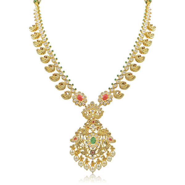 Gold Leaf -Necklace -PGN0643 KrishnaPearlsandJewellers