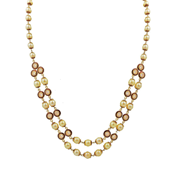 Gold Necklace Chain with Pearls & CZ-GCP1013 KrishnaPearlsandJewellers
