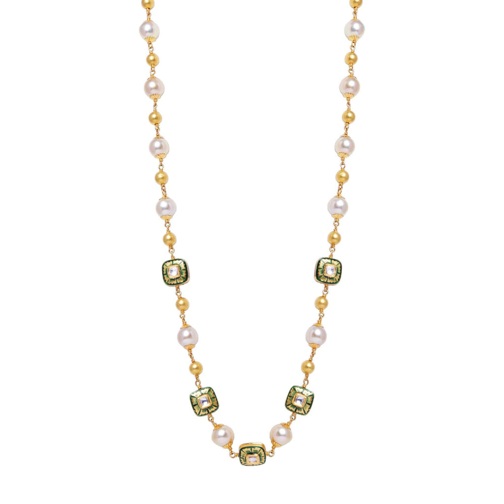 Gold Pearl Kundan Necklace Long Chain  -GCP1018 KrishnaPearlsandJewellers