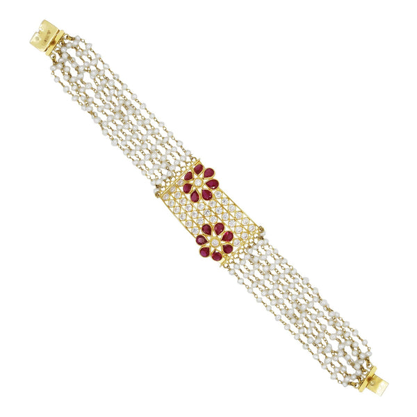 Gold Pearl with Ruby Bracelet-GBP0042 KrishnaPearlsandJewellers