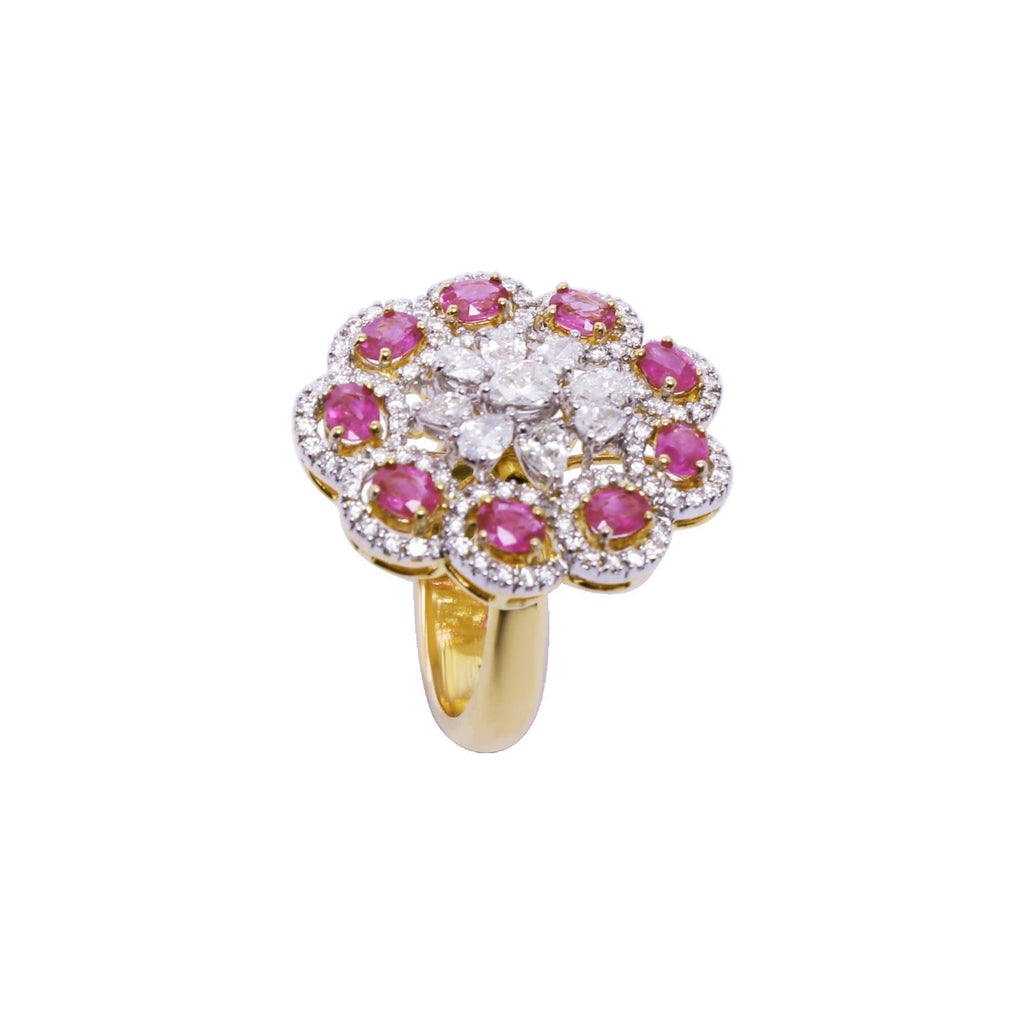 Gold Ring with Rubies Stone and Diamonds -GRD1665 KrishnaPearlsandJewellers