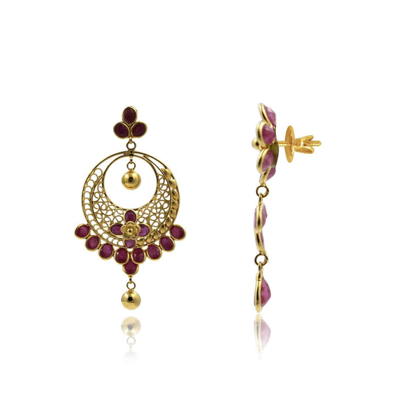 Gold Ruby -Chandbali Earrings -GTR0624 KrishnaPearlsandJewellers