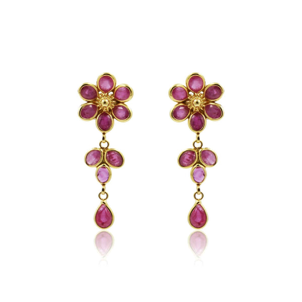 Gold Ruby -Flower Earrings -GTR0625 KrishnaPearlsandJewellers