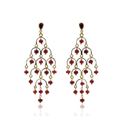 Gold Ruby Chandelier Earrings -GTR0577 KrishnaPearlsandJewellers