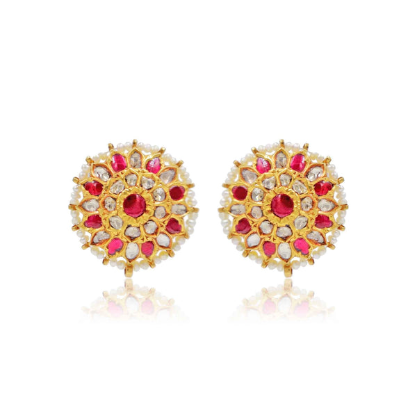 Gold Ruby Pearl Earrings-GTP0704 KrishnaPearlsandJewellers