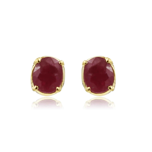 Gold Ruby Stud Earrings -GTR0011. KrishnaPearlsandJewellers