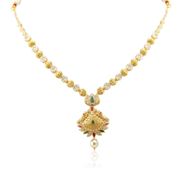 Gold chain -peacock pendant Necklace - PGN0674 KrishnaPearlsandJewellers