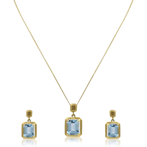 Gold with Blue Topaz Necklace Set - GPSMC34 KrishnaPearlsandJewellers