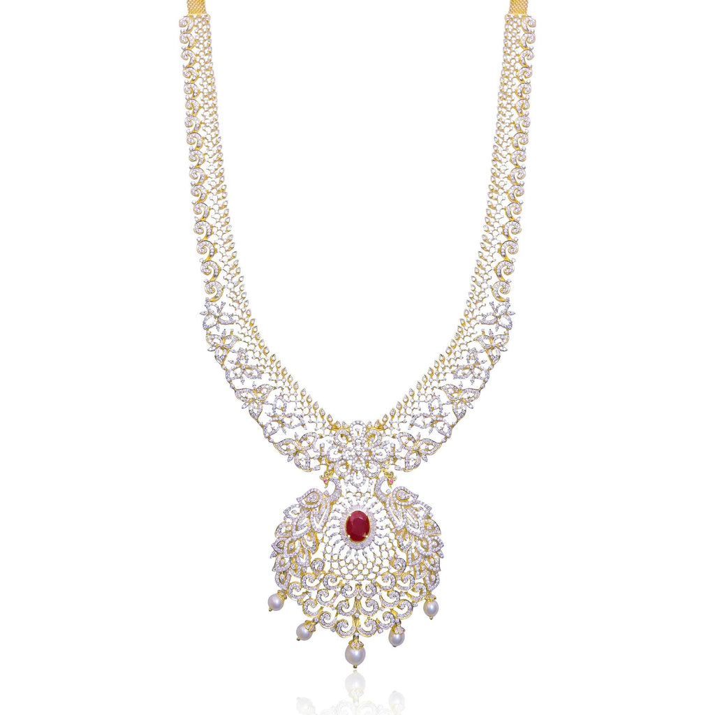 Gold with Diamond -Flower Necklace -H14603 KrishnaPearlsandJewellers