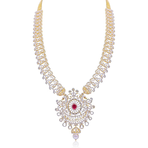 Gold with Diamond -Peacock Necklace -H15959 KrishnaPearlsandJewellers