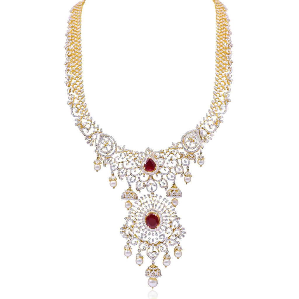 Gold with Diamond Necklace -H15580 KrishnaPearlsandJewellers