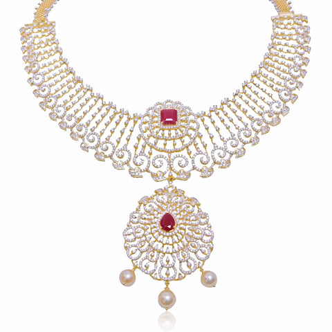 Gold with Diamond Necklace -NS363 KrishnaPearlsandJewellers