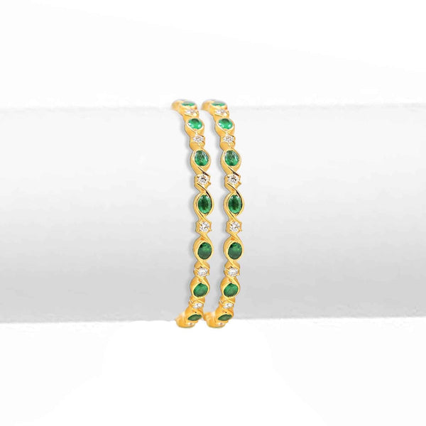 Gold with Diamond and Emerald Bangles - GNE0028 KrishnaPearlsandJewellers
